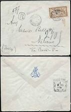 CHINA 1909 FRENCH P.O HANKOW REGISTERED to ITALY MERSON 20c on 50c +MONOGRAM ENV