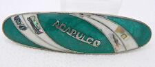 Vintage Silver Tone Alpaca Mexico Acapulco Green Enamel MOP Abalone Hair Clip