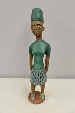 African Statue Colonial Female Green Shirt Hat Female Figure Statue