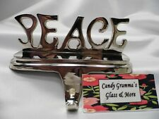 CHRISTMAS STOCKING HANGERS HOLDERS SILVER TONE PEACE