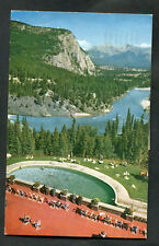 Posted 1966: People, Banff Springs, Hotel Swimming Pool & Bow Valley
