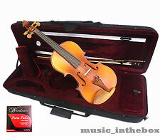 New Model 4/4 Flamed Back Violin + Bow+ Rosin + Square Case +String set -Limited