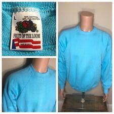 Vintage deadstock Fruit Of The Loom blue Blank 50/50 Crewneck Sweatshirt LARGE