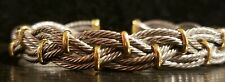 18k Gold And Stainless Steel Braided Bangle Bracelet