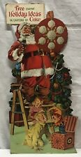 Vtg Santa with Coca-Cola Bottle Christmas Morning Stand Litho Display Sign 29""