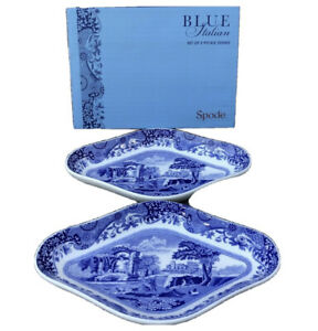 2 Spode Blue Italian Collection Pickle Dishes Dinnerware Blue White Serving Dish