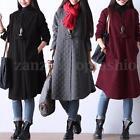 ZANZEA Women Winter Long Sleeve Button Cardigan Jacket Coat Loose Shirt Dress US