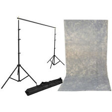 Impact Background Kit with 10 x 12' Tie-Dyed Slate Gray Muslin Backdrop