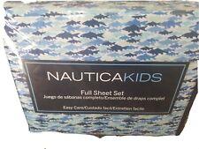 New Nautica Kids 4pc  Full Sheet Set Sharks Blue White