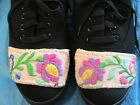 HUNGARIAN KALOCSA HAND EMBROIDERED BLACK LACE-UP CANVAS TENNIS SHOES Size 10