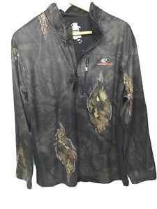 Browning Pullover 1/4 Zip Jacket Black/CAMO HUNTING MEN'S Sz Large Fleece READ
