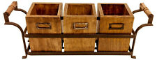 Black Metal Stand with 3 Wooden Storage Boxes Jars Canister Cutlery Holder