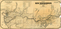 1892 Map of New Westminster District, B.C. Canada Wall Art Poster Print Decor