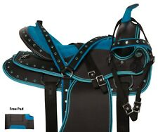 Blue Crystal Show Western Synthetic Horse Saddle Tack Package Pad 14 15 16 17 18