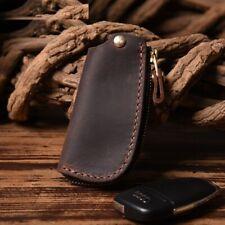 Unisex Key Wallets Genuine Leather Vintage Covers Zipper Case Cowhide Holder