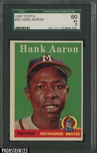 1958 Topps #30 Hank Aaron Milwaukee Braves HOF SGC 60 EX 5