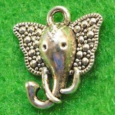 50Pcs. WHOLESALE Tibetan Silver ELEPHANT Charms Pendants Earring Drops Q1216