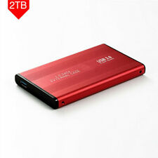 """Portable 2.5"""" USB 3.0 2TB Red External Hard Drive Disks HDD For PC Laptop"""