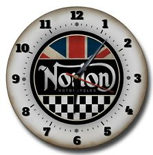 "NORTON  MOTORCYCLES 250MM CLOCK /10"" DIAMETER METAL WALL CLOCK.GARAGE,WORKSHOP."