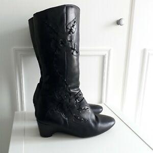 K Clarks Vtg Style Black Leather knee high floral wedge heel boots Sz 5.5 /38.5