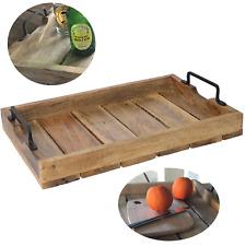 XL Mango Serviertablett 46x31x5cm Holz-Tablett Dekotablett Griff Henkel Shabby
