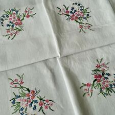 More details for vintage large white heavy linen tablecloth - exquisite hand embroidered flowers