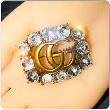 AUTHENTIC GUCCI GG MARMONT BROOCH STONE GOLD