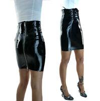 Shiny Black PVC Vinyl Pencil Skirt Zip Back Lace Up Front
