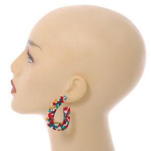 Trendy 'Burst of Colour' Effect Multicoloured Acrylic/ Plastic/ Resin Oval Hoop