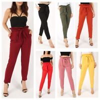 WOMENS LADIES STRETCH TAPERED PLAIN PLEATED CIGARETTE TROUSERS PLUS SIZE 8-24