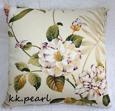 """Beautiful Cushion Cover Made In John Lewis """"Bayswater"""" Fabric Floral / Leaves 16"""