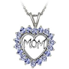925 Sterling Silver Tanzanite MOM Open Heart Necklace
