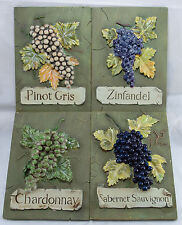 3D Grape Variety Wall Plaques Set of 4 Chardonnay Cabernet Pinot Gris Zinfadel