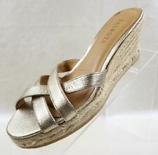 Talbots Wedge Espadrille Sandals Womens Gold Leather Slip On Shoes Size 7.5M