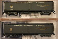 """HO Scale BROADWAY LIMITED 1860 NC & St. LOUIS 53'6"""" Wood Express Reefers 2-Pack"""