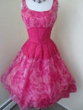 Vintage 1950's Pink Chiffon & Lace Party Dress Rose Floral Print Full Skirt S M