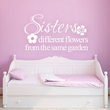Inspired Wall Decal Sisters Flowers Quote Vinyl Removable Girl Child Room Decor