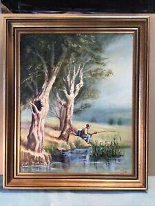Artist Phillips 1980 Leisure Hours Framed Oil Painting