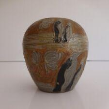 Pot vase gravure sculpture laiton fait main art nouveau made in INDIA vintage XX