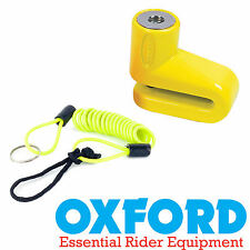 Oxford Junior Yellow Disc Lock & Lock Reminder for Scooters & Motorcycles- OF34