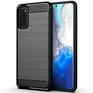 Carbon Fibre [Slim Fit] Flexible Shockproof Case Cover for Samsung Galaxy Phones