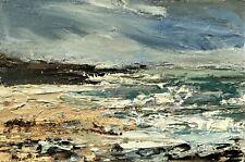 ORIGINAL SIGNED IMPRESSIONIST ABSTRACT ROCKS SURF SEA OIL PAINTING ON canvas