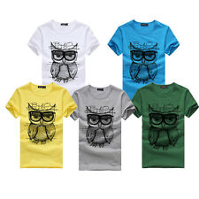 New Men Boy Printing Owl Casual Tees Shirt Short Sleeve Cotton T Shirt Clothes