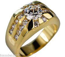 Men's Championship Rising Sun CZ ring 18K yellow gold overlay size 14