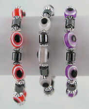 "Set of Three Hemalyke and Resin Beads Stretch Bracelets 7"" Three Colors Set 1"