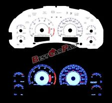 WHITE 98-03 Chevy S10 AT w/7000 RPM INDIGLO GLOW BLUE REVERSE EL GAUGE KIT