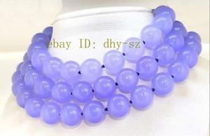 "Huge 12-14mm Lavender Jade Round Gemstone Beads Necklace Long 36-50"" AAA"