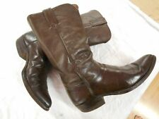 "JUSTIN mens CLASSIC STYLE BROWN leather 13"" TALL Cowboy Boots SZ 9 C"