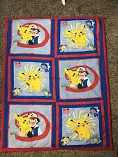 "Vintage 50x 40"" Nintendo Pokemon Throw Blanket Tapestry Picachu Red Blue"