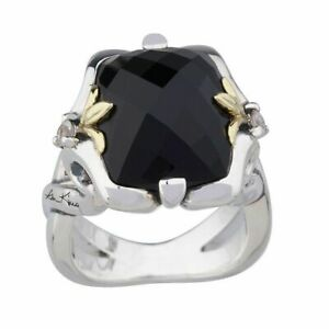 QVC Ann King Sterling/18K 8.00 CT Black Onyx Gemstone Ring Size 7 sold out